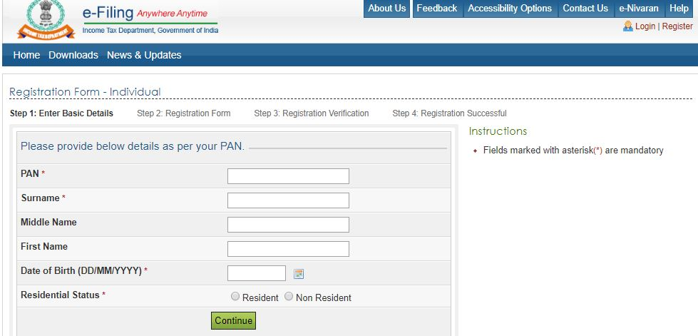 income tax login